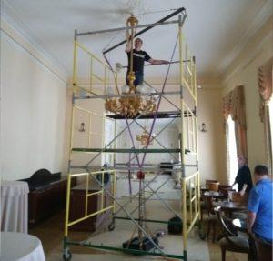 Испытание подвеса люстры в Михаиловском театре (картинка статьи)
